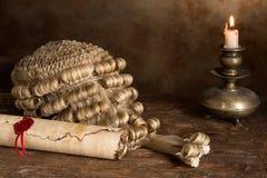 Парик переченя и судьи пергамента Стоковое Изображение
