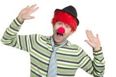 парик redhead смешного жеста клоуна счастливый Стоковые Изображения RF