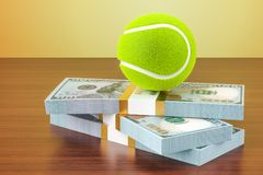 Пари спорта Деньги и теннисный мяч на деревянном столе, 3D представляют Стоковое Изображение