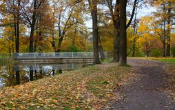 Парк Александра в Tsarskoe Selo, мосте и пруде Стоковая Фотография