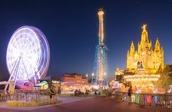 Парк атракционов и висок на Tibidabo Стоковые Фотографии RF