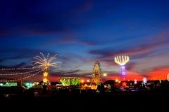 Парк атракционов на ноче Стоковое фото RF