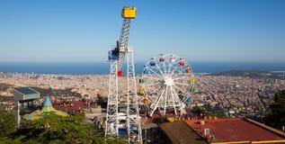 Парк атракционов на Tibidabo в Барселоне Стоковые Фотографии RF
