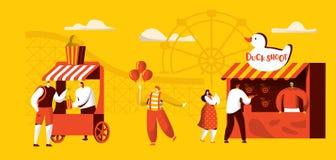 Парк атракционов шаблона знамени привлекательностей Езды каботажного судна, характер клоуна цирка счастливый с воздушным шаром зр иллюстрация штока