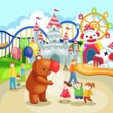 Парк атракционов для детей в летнем отпуске (vec Стоковое Фото