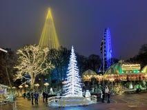 Парк атракционов Liseberg с украшением рождества в Гётеборге, Швеции Стоковое Фото