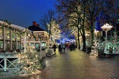 Парк атракционов Liseberg с украшением рождества в Гётеборге, Швеции Стоковая Фотография