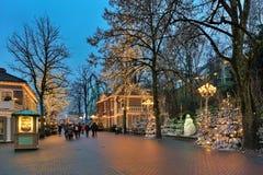 Парк атракционов Liseberg с украшением рождества в Гётеборге, Швеции Стоковое Изображение