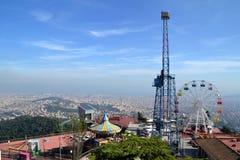 Парк атракционов Tibidabo в Барселоне, Испании Стоковые Изображения