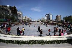 Парк бульвара зимы в городе Баку стоковые фото