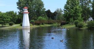 Парк Веллингтона в Simcoe, Онтарио с маяком 4K сток-видео