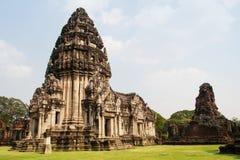 Парк винтажного замка Phimai исторический стоковое фото rf