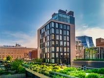 Парк высокой ветки в Манхаттане Нью-Йорке Городской парк популярен locals и туристами построенными на повышенных следах поезда стоковое изображение