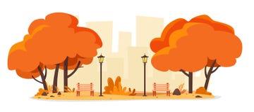 Парк города осени со стендами и уличными фонарями t бесплатная иллюстрация
