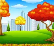 Парк города осени с предпосылкой здания Стоковое Изображение