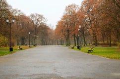 Парк города в идя дождь дне Стоковая Фотография RF