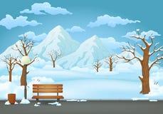 Парк зимнего дня Снег покрыл деревянную скамью, мусорное ведро и уличный фонарь Горы на заднем плане бесплатная иллюстрация