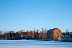 Парк зимы в дне Стоковая Фотография