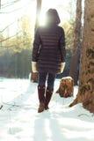 Парк зимы прогулки женщины ботинка ноги Стоковые Изображения RF