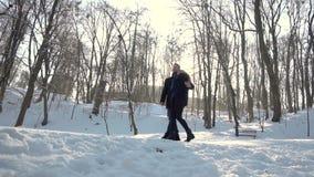 Парк зимы прогулок человека и женщины сток-видео