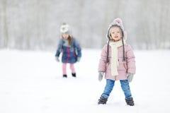 Парк зимы 2 смешной прелестный маленьких сестер Стоковое фото RF