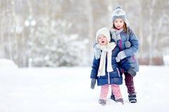 Парк зимы 2 смешной прелестный маленьких сестер Стоковое Фото