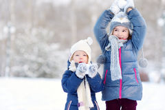 Парк зимы 2 смешной прелестный маленьких сестер Стоковая Фотография