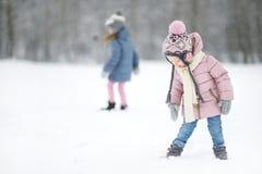 Парк зимы 2 смешной прелестный маленьких сестер Стоковые Изображения