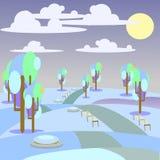 Парк ландшафта иллюстрации и внешняя зима Стоковая Фотография