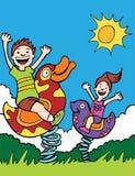 парк малышей играя езды Стоковое Фото