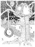 Парк напольно Задворк качание Колесо Детство Дом на дереве также вектор иллюстрации притяжки corel Чертеж Doodle Медитативная тре стоковое фото rf