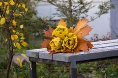 Парк осени, букет роз сделанных от упаденных кленовых листов лежит Стоковое Изображение