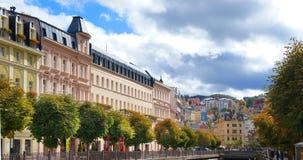 Парк осени в Karlsbad (Karlovy меняет) Стоковая Фотография