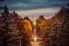 Парк осени и собор Sophia Святого стоковые фото