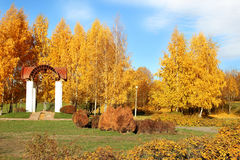 парк осени красивейший Осень в Минске валы листьев осени Ландшафт осени Парк в осени Пуща в осени Стоковые Фото