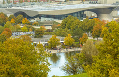 Парк Олимпии в Мюнхене, Баварии, Германии Стоковое Изображение