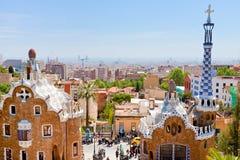 парк панорамы guell города barcelona стоковые фотографии rf