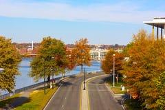 Парк портового района Джорджтауна около Потомака в DC Вашингтона, США Стоковые Изображения