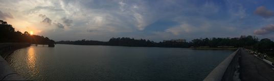 Парк резервуара Macritchie захода солнца около озера стоковые фотографии rf