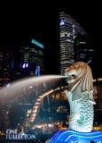 Парк Сингапура Merlion на ноче Стоковое фото RF