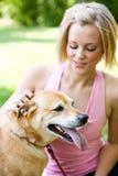 Парк: Собака при язык вися вне на горячий день Стоковое Изображение RF