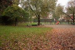 Парк с листьями осени t стоковое фото