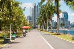 Парк тротуара публично на прогулке океана и backgroun горизонта стоковая фотография