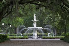 парк фонтана forsyth Стоковые Фотографии RF