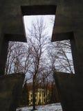 Парк через крест, Kamenets Podolskiy зимы, Украина Стоковое Изображение