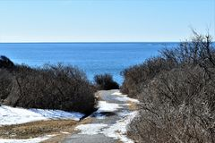 Парк штата 2 светов и окружающий вид на океан на накидке Элизабет, Cumberland County, Мейне, МНЕ, Соединенных Штатах, США, Новой  стоковые изображения rf