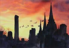 Парк Ayutthaya исторический восходом солнца Стоковые Изображения