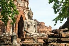 Парк Ayutthaya исторический, Таиланд - статуя Будды на старых руинах, стоковая фотография rf
