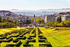 Парк Eduardo VII и Капер de Pombal придают квадратную форму Стоковое Изображение