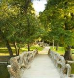 парк footbridge к уникально Стоковая Фотография